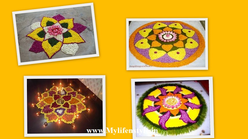 beautiful rangoli by flowers