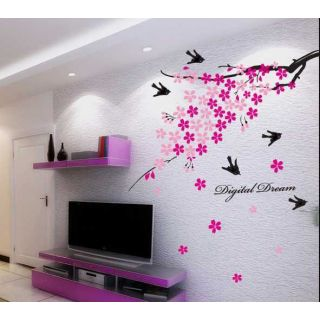 Wall Stickers Pink Flower Branch With Birds