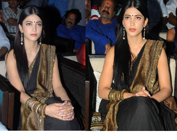 Shruti Hassan in Black Saree