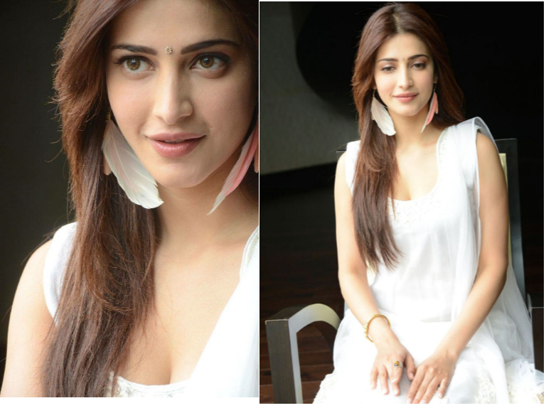 Shruti Hassan in white salwar kameez