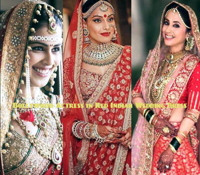 Bollywood Actress in Red Indian Wedding Dress