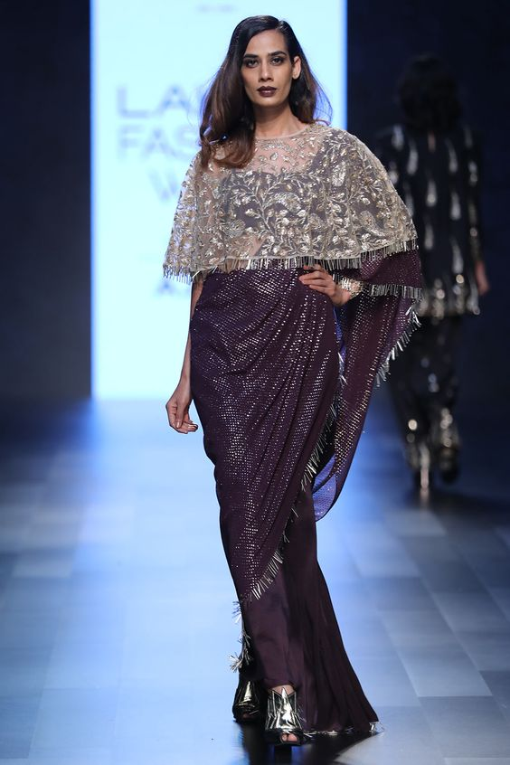saree with a cape by Payal Singhal